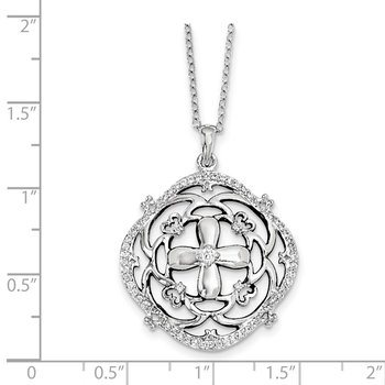 Sterling Silver CZ A Time For Miracles 18in. Necklace
