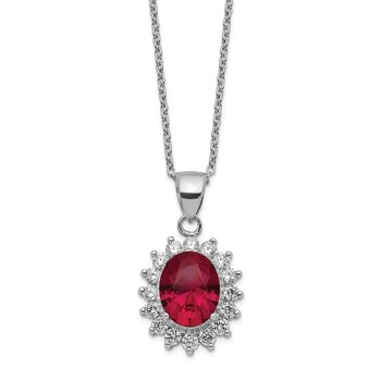 Cheryl M Sterling Silver CZ & Lab Created Ruby Necklace