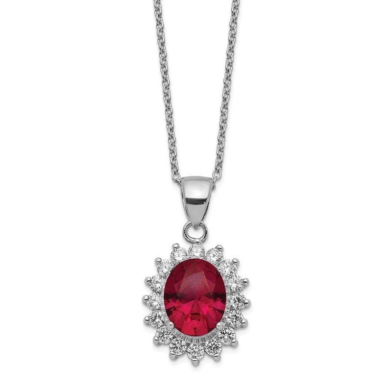 Cheryl M Cheryl M Sterling Silver CZ & Lab Created Ruby Necklace