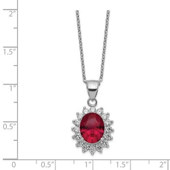 Cheryl M Sterling Silver Rhod Plated CZ & Created Ruby 18.25in Necklace