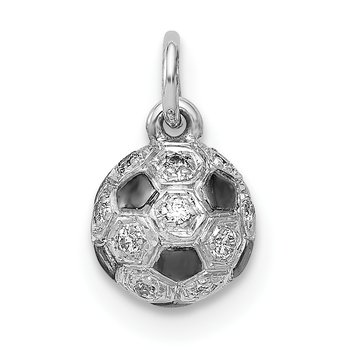 14k White Gold Diamond Soccer Ball Pendant