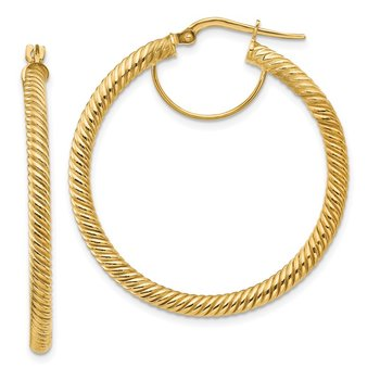 14k 3x30mm Twisted Round Hoop Earrings