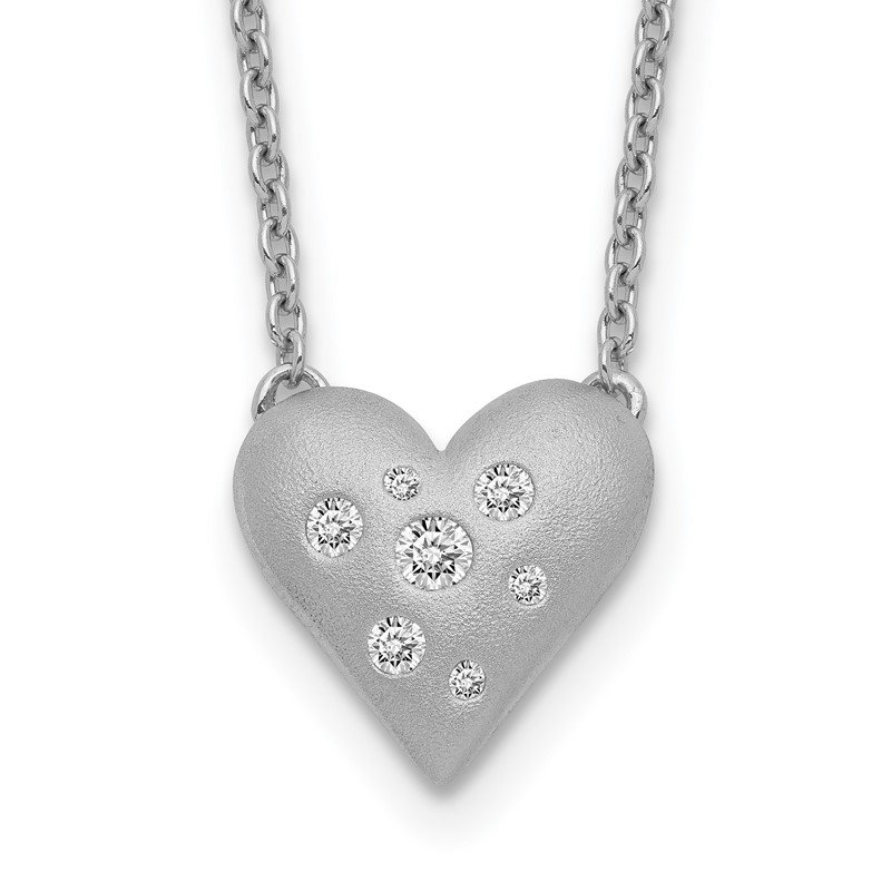 Quality Gold Sterling Silver Rhodium-plated CZ Satin Puffed Heart w/ 1in ext Necklace