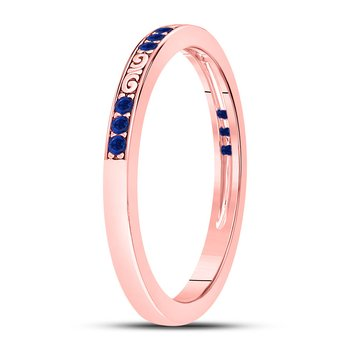 10kt Rose Gold Womens Round Blue Sapphire Flourished Stackable Band Ring 1/6 Cttw