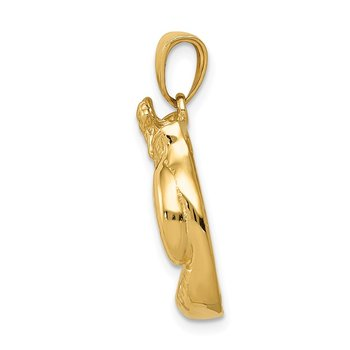 14k Solid Polished Open-Backed Boxing Gloves Pendant
