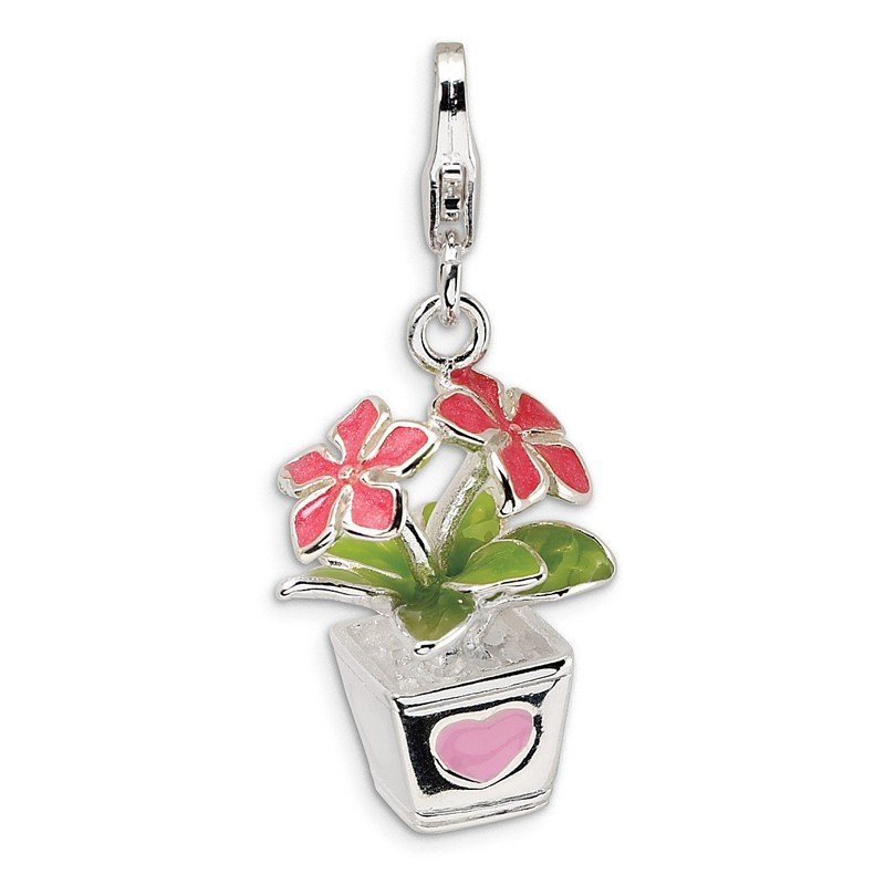 Quality Gold Sterling Silver 3-D Enameled Potted Flowers w/Lobster Clasp Charm