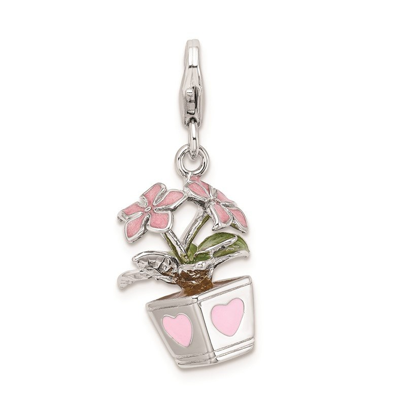Quality Gold Sterling Silver RH 3-D Enameled Potted Flowers w/Lobster Clasp Charm