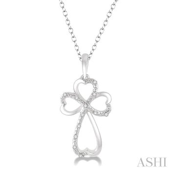 silver cross heart shape diamond pendant