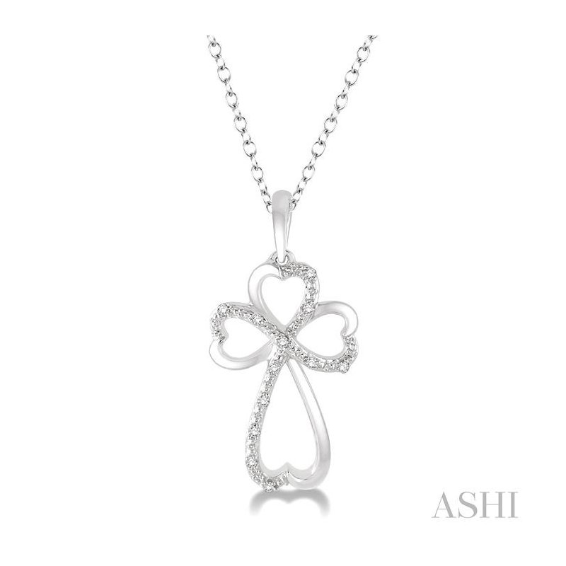 ASHI silver cross heart shape diamond pendant
