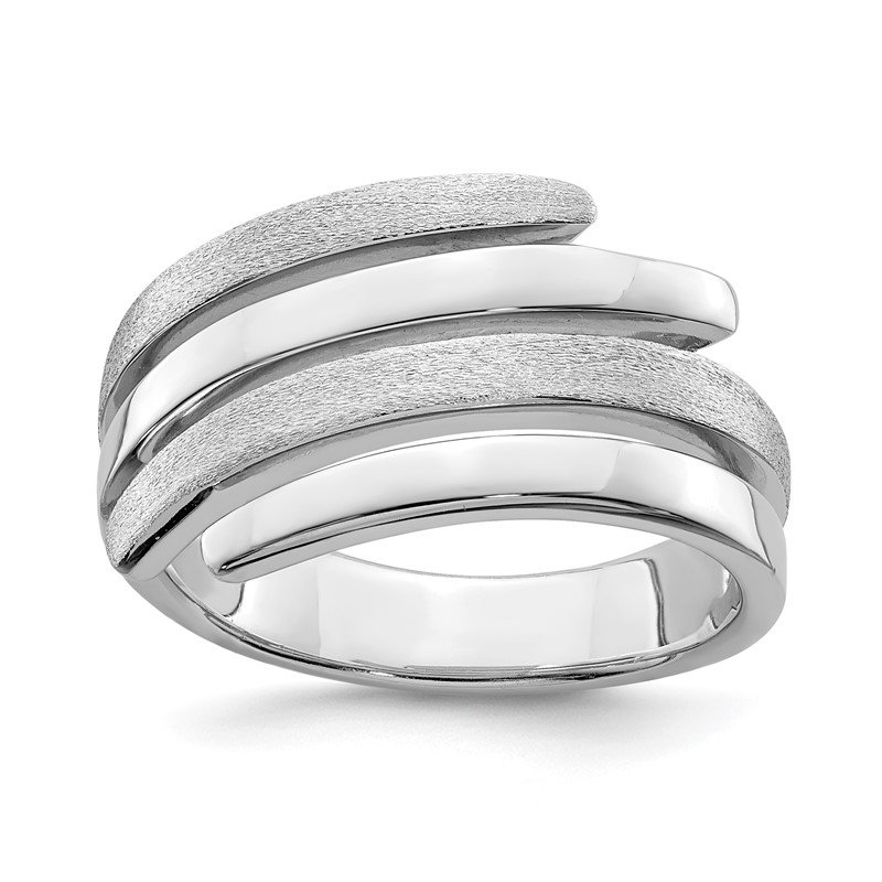Quality Gold Sterling Silver Rhodium-plated Polished & Brushed Ring