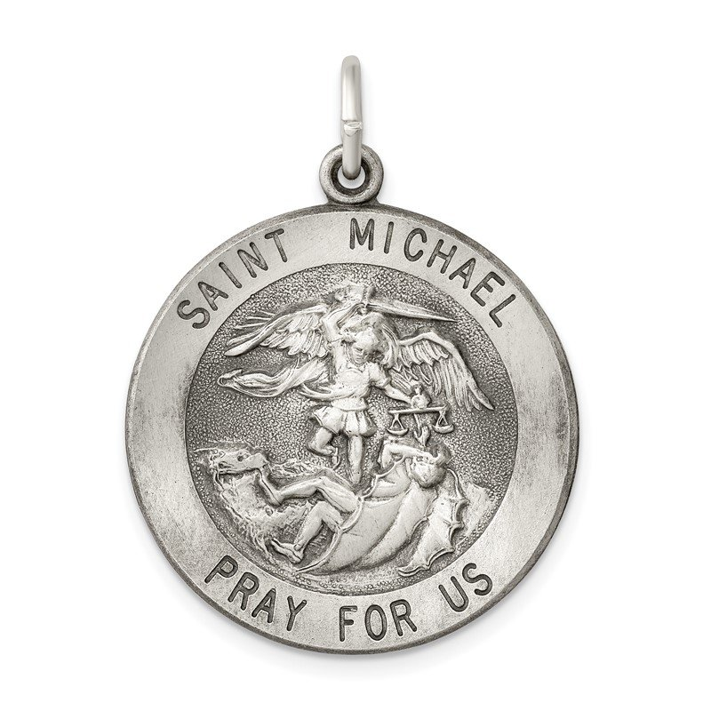 Quality Gold Sterling Silver Antiqued Saint Michael Medal