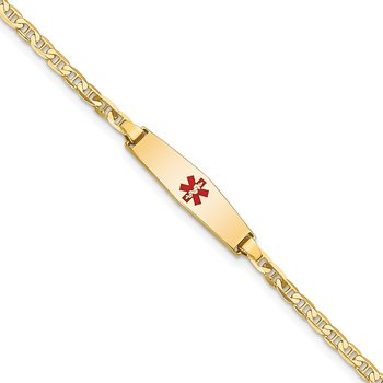 14k Medical Soft Diamond Shape Red Enamel Flat Anchor Link ID Bracelet