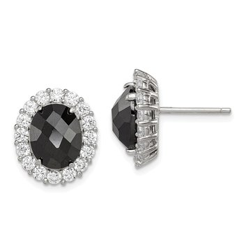 Sterling Silver Black CZ and Clear CZ Post Earrings