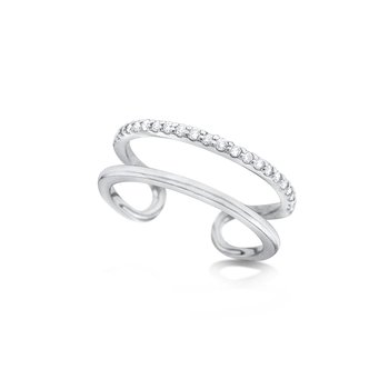 14K Diamond Double Band Ring
