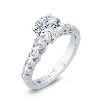 18K White Gold Bezel Set Round Diamond Engagement Ring with Milgrain (Semi-Mount)