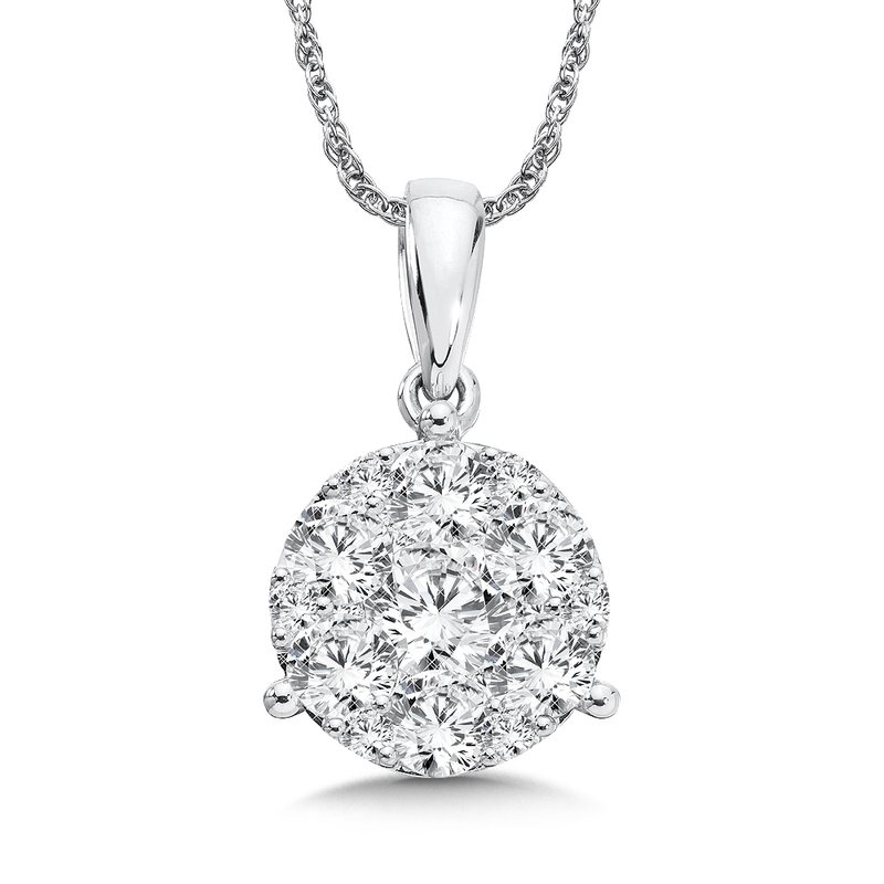 Prong set Diamond star Martini Style Pendant in 14k White Gold (1 ct. tw.)