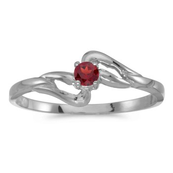 14k White Gold Round Garnet Ring