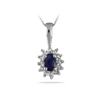 14K WG Sapphire and Diamond All Purpose Pendan
