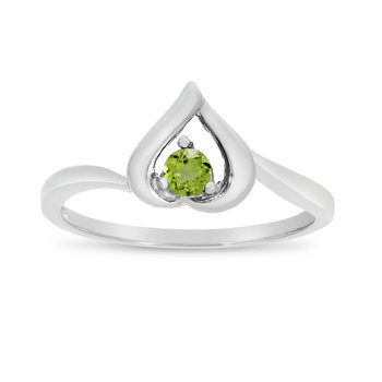 10k White Gold Round Peridot Heart Ring
