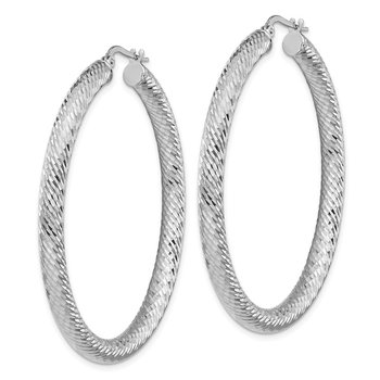 14k 4x40mm White Gold Diamond-cut Round Hoop Earrings