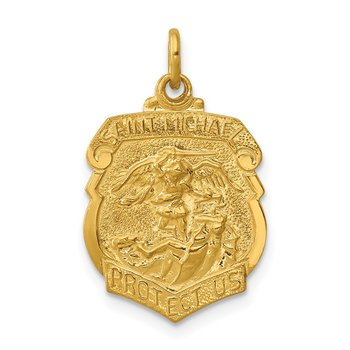 24k Gold-plated Sterling Silver Saint Michael Badge Medal