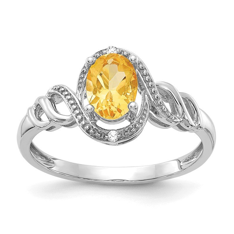 Quality Gold 10k White Gold Citrine and Diamond Ring