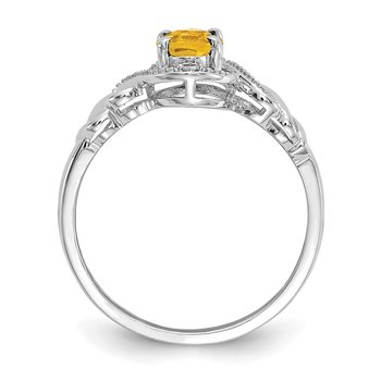 10k White Gold Citrine and Diamond Ring