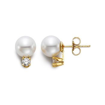 6.5.-7MM Freshwater Pearl & Diamond Stud Earrings