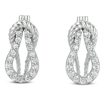 White Gold Love Knot Rope Earring