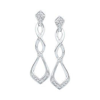 10kt White Gold Womens Round Diamond Cascading Teardrop Dangle Earrings 1/10 Cttw