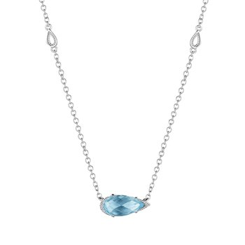 Solitaire Pear-Shaped Gem Necklace with Sky Blue Topaz