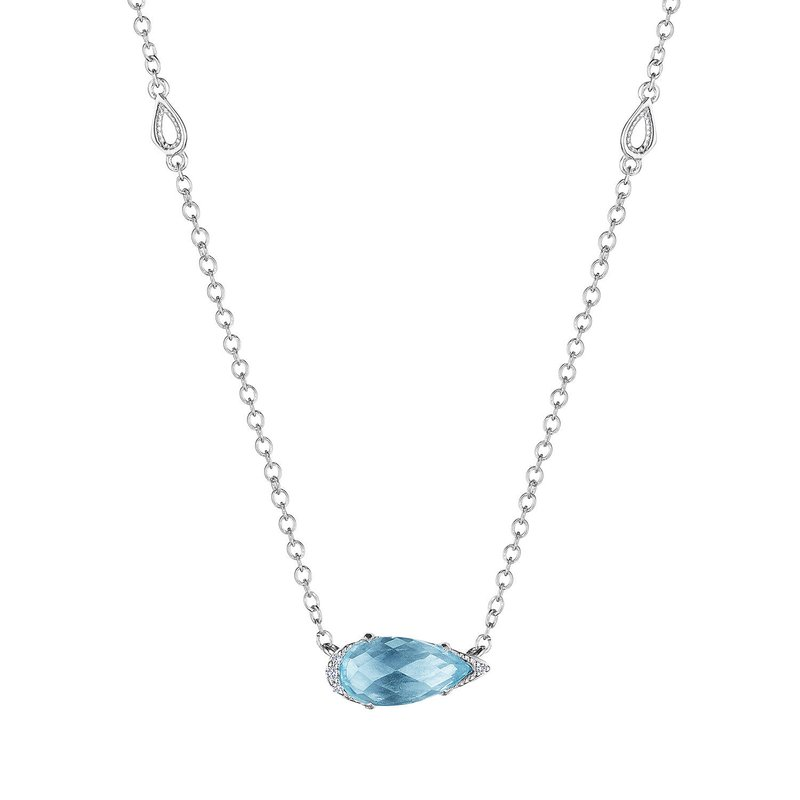 Tacori Fashion Solitaire Pear-Shaped Gem Necklace with Sky Blue Topaz