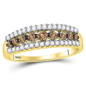 10kt Yellow Gold Womens Round Brown Color Enhanced Diamond Band Ring 1/2 Cttw - Size 8