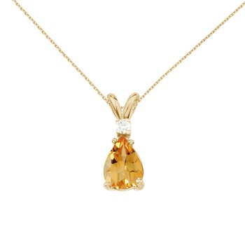 14k Yellow Gold Pear Shaped Citrine and Diamond Pendant