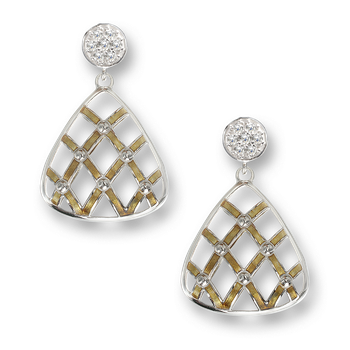 Sterling Silver Quilted Triangle Stud Earrings-Gold. White Sapphires