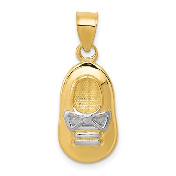 14k w/ White Rhodium Baby Boy's Shoe Pendant