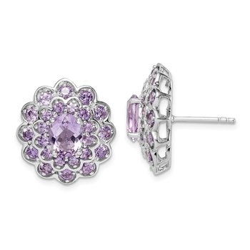 Sterling Silver Rhodium-plated 8x6 Oval Center Amethyst Post Earrings