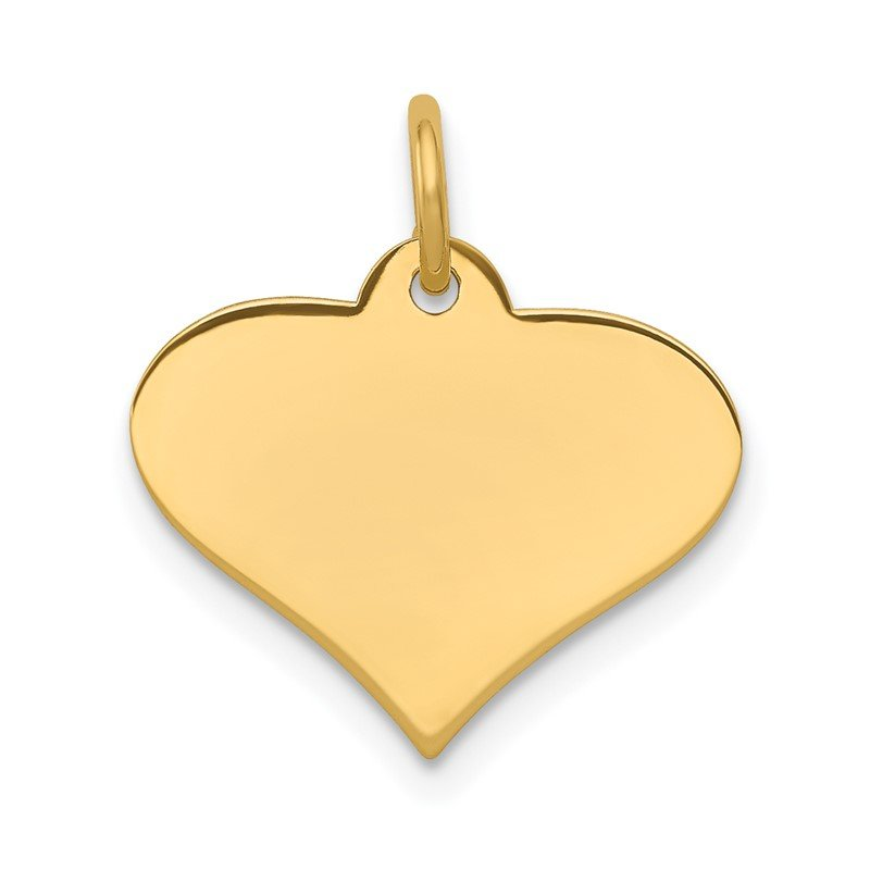 Quality Gold 14k Plain .027 Gauge Engraveable Heart Disc Charm