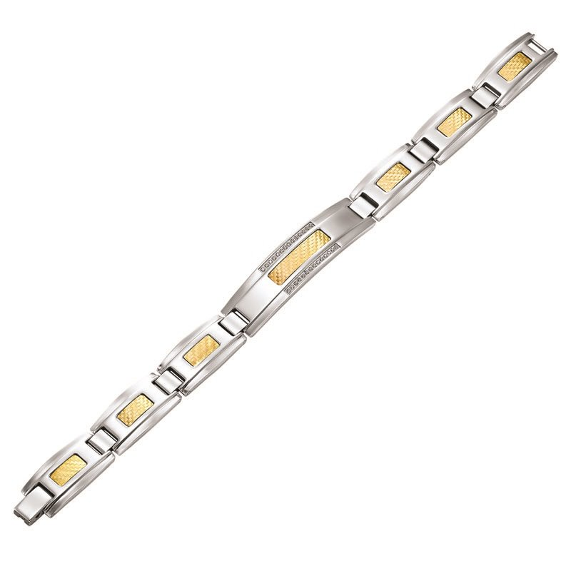 Gemsone Steel with 18K Inlay ID Bracelet 1/7 ctw