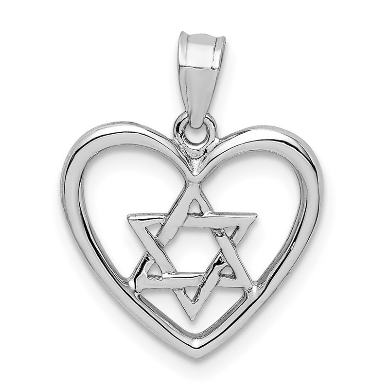 Quality Gold 14K White Polished Star of David in Heart Pendant