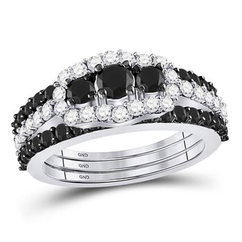 10kt White Gold Womens Round Black Color Enhanced Diamond 3-stone Bridal Wedding Engagement Ring Band Set 2.00 Cttw