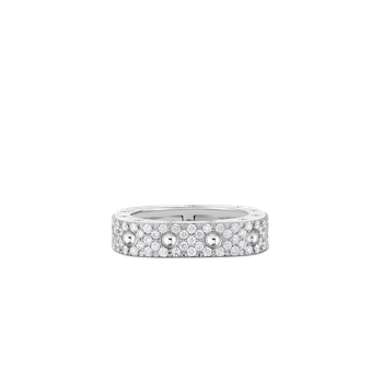 1 Row Square Ring With Diamonds &Ndash; 18K White Gold, 7.5