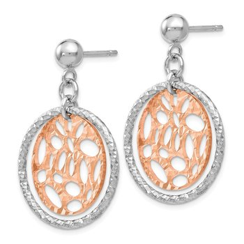 Leslie's Sterling Silver Rose-tone Flash-plated Post Dangle Earrings