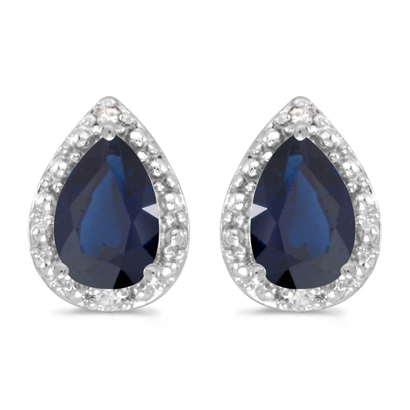 Color Merchants 10k White Gold Pear Sapphire And Diamond Earrings