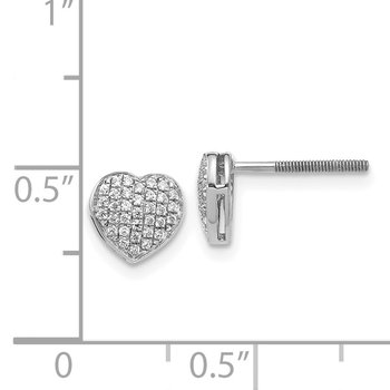 14k White Gold Diamond Heart Screw Back Post Earrings