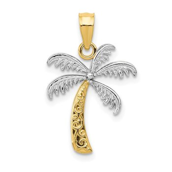 14K w/Rhodium Palm Tree Pendant