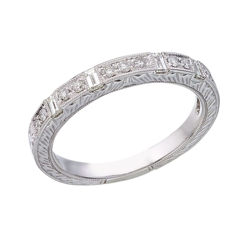 Color Merchants 14K White Gold Bridal Princess Diamond Ring Band