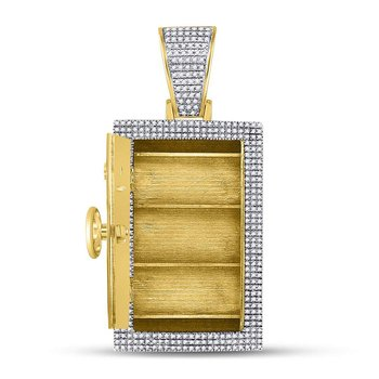 10kt Yellow Gold Mens Round Diamond Bank Safe Vault Charm Pendant 1-1/3 Cttw