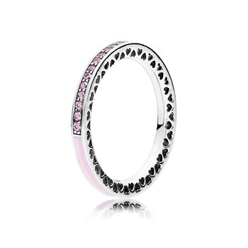 Radiant Hearts of PANDORA, Light Pink Enamel & Clear CZ