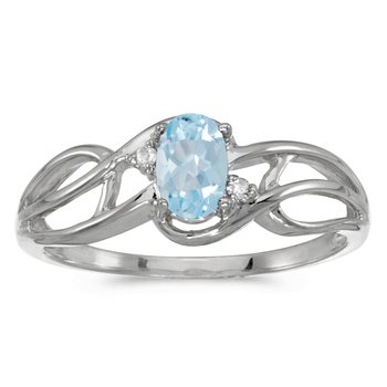 10k White Gold Oval Aquamarine And Diamond Curve Ring